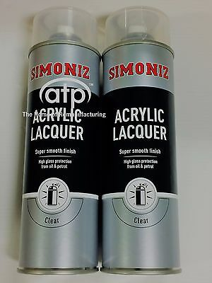 Simoniz SIMP22D Large Clear Lacquer Acrylic Gloss Aerosol Spray Paint x 2 500ml
