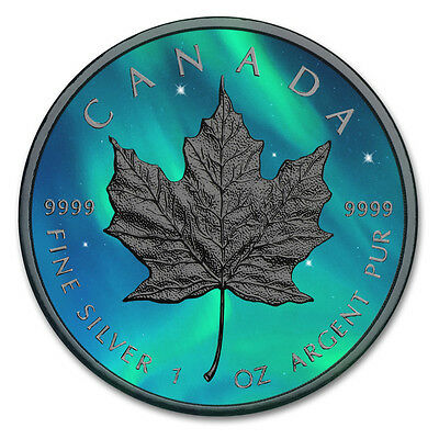 Silver Maple Leaf Coin Ruthenium plated, Colorized Northern Lights Golden Noir