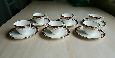 Royal Doulton Winthroph 4969 set of 6 demitasse/espresso/coffee cups and saucers