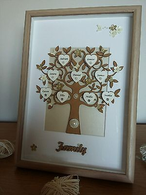 Personalised Family tree picture frame 3D box frame perfect gift keepsake