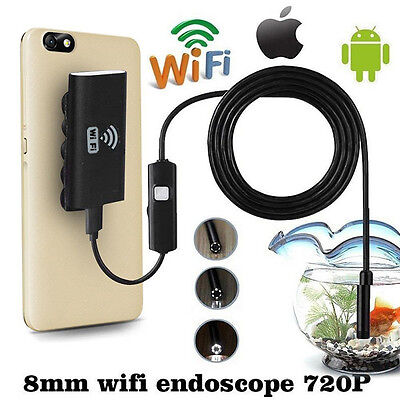 2m 8mm Wireless WIFI Endoscope Waterproof 1.0MP Camera For iPhone Android Phone