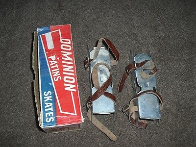 Vintage Adjustable Ice Skates - Dominion - Leather Straps - Made in Canada