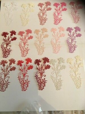 10 Die Cut Tattered Lace Thistle In Pinks Mix For Craft