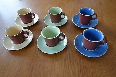 Denby Juice Small Coffee Cups and Saucers (set of 6)