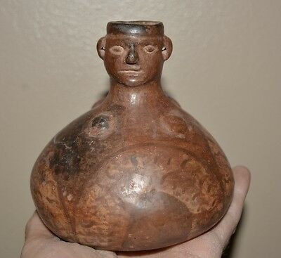 Pre Columbian Effigy Pitcher of Male 100-800AD from Peru