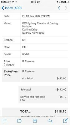 4 X Tickets Nick Cave At The Sydney Opera House