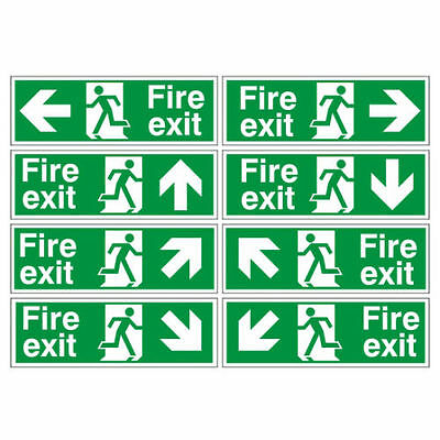 Fire Exit Sign 300mm x 100mm From £0.79 Each When You Buy A Pack of 100
