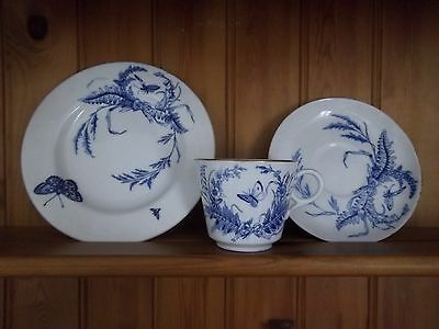 Antique Copeland Trio - Blue And White Feature  Butterfly
