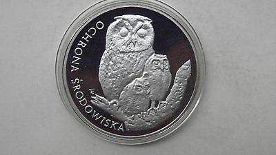 1986 Poland 500 Zlotych Owls Silver Proof coin