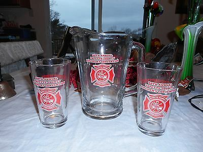 3 Piece Set Pitcher And 2 Glasses 68th Fireman's Convention Fayette County Pa.