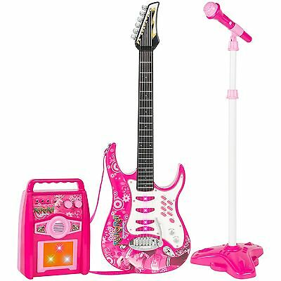 Kids Electric Guitar Set MP3 Player Microphone Amplifier Pink NEW