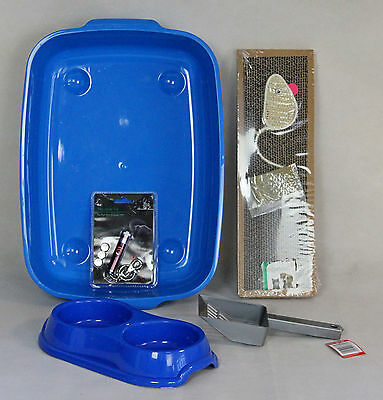 CAT KITTEN STARTER KIT, BLUE LITTER TRAY, BOWLS, SCRATCHING BOARD,KITTEN pack