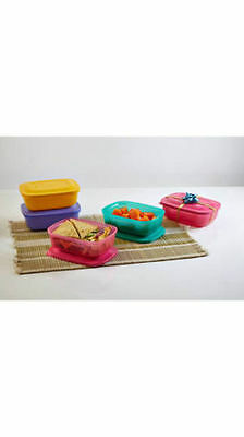 TUPPERWARE RECTANGULAR LUNCH MATES/BOXES 500 ml Set Of 2 Pink & Purple