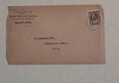 Union Bank Of Canada, Watrous, Sask. RPO Cover CANADIAN NATIONAL RAILROAD