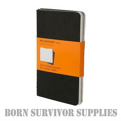 Moleskine Pocket Journal Notebook - 3 Pack Black Note Lined Field Paper Cahiers