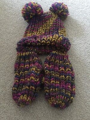 Girls Hat And Gloves Set Age 7-10 Years