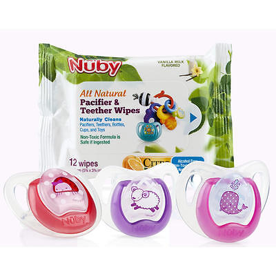 Nuby BPA Free 6 to 12 Months 3 Pack Pacifier and Teether Wipes - Girl