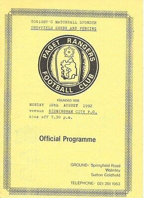 Paget Rangers V Birmingham City 92/93 -- Friendly.