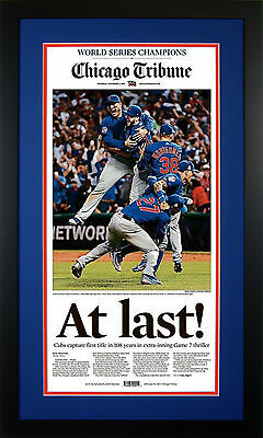 Chicago Cubs 2016 World Series Baseball Champs AT LAST Tribune Framed Newspaper