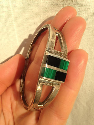 Vintage Mexican Sterling 925 silver bracelet with Malachite and Onyx 35 gr