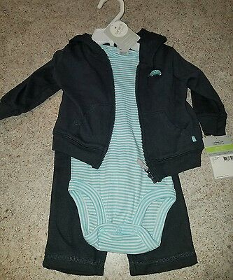 Baby Boy 3 months, Carter's Little Layette 3 piece set/pants, Shirt And Hoodie