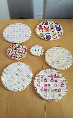 7 Embroidery Hoops, designer fabric for girls bedroom