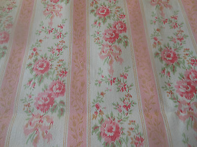 Antique Vintage Pink Shabby Cottage Roses Lisere Stripe Ticking Fabric ~