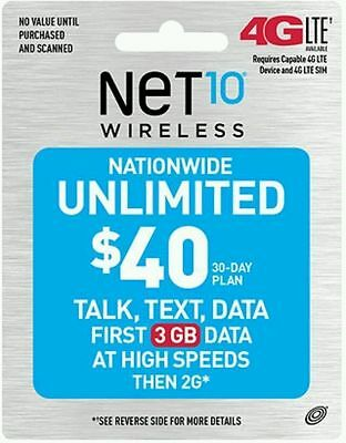 NET10 $40 30-Days Unlimited Talk, Text and Data (3GB LTE) Refill PIN by Email