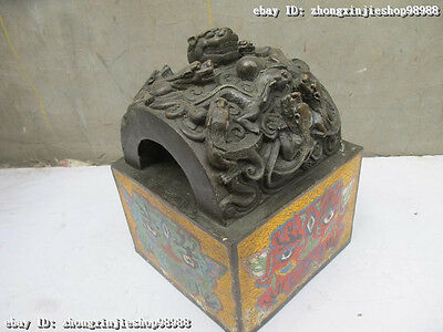 Chinese Regius Palace 100% Bronze cloisonne Nine Dragon Emperor Imperial seal