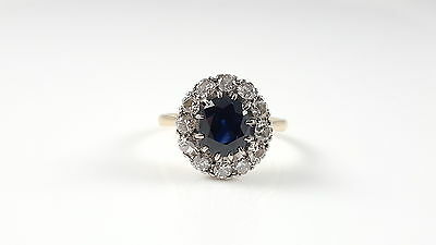 Vintage 18Ct 18Kt Gold Sapphire Diamond Cluster Ring