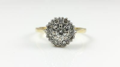 Vintage 18Ct 18Kt Yellow & White Gold 0.35Ct Diamond Cluster Ring