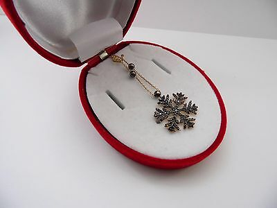 New 14K  14ct Gold Snowflake Pendant with Chain all Solid  gold black snowflake