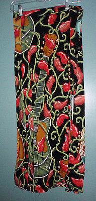 VintageNEW ORLEANS JAZZ FEST Bayou wear skirt -s - chili peppers and quitar
