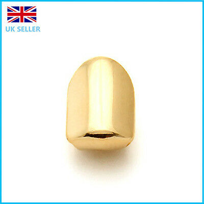 Gold  Single Grillz 24k Plated Teeth Mouth Grills Bling Hip Hop Gangster Rap