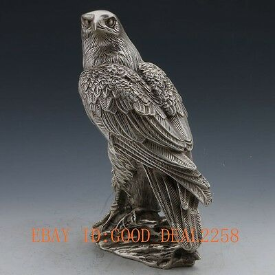 China Silver Copper Handwork Carved Eagle Statue #105