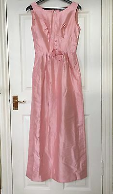Original Vintage Miss Cutts 1960's Pink Evening DRESS - Wedding Bridesmaid UK 8