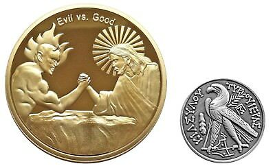 Good vs Evil Sobriety Recovery Challenge Coins Set
