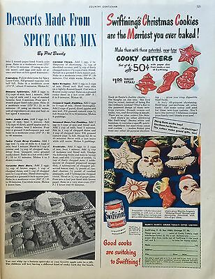 1949 Swift'ning Shortening Ad -Christmas Cookies- Cooky Cutters