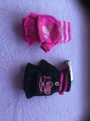 New two pairs of girls fingerless gloves with hat for fingers age 7-10 years .