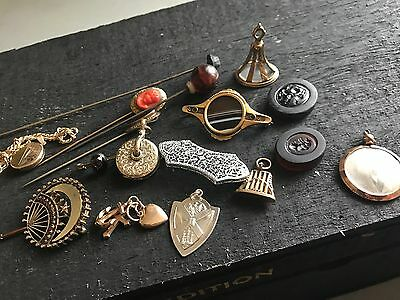 Antique Victorian GF  Fob Locket Mourning Hand Wax Seal Hat Pin Brooch