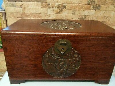 Vintage chinese carved wooden box /chest.          good condition