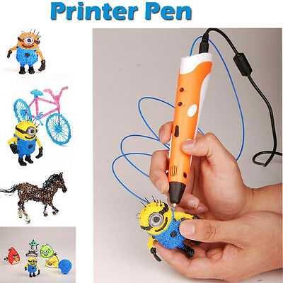 Orange 3D Printing Pen Stereoscopic Drawing Arts Crafts+3 Free ABS Filaments A#1