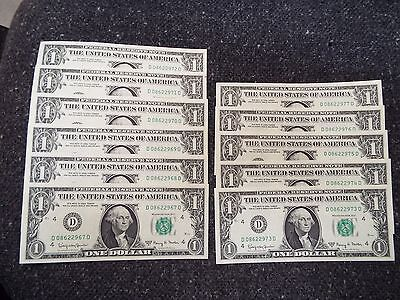 1963-A  CU Federal Reserve Notes, Lot of 11 consecutive nunbers
