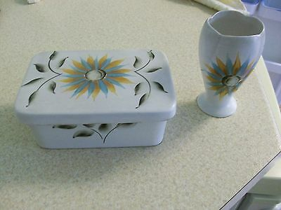 E Radford hand painted pottery. Butter dish and small vase