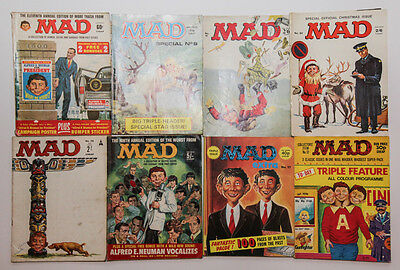 A Collection Of 8 Vintage Mad Magazines.  Very Collectible.