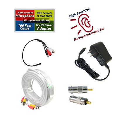 CCTV High Microphone Security Camera RCA Audio Mic DC Power /& Cable 25FT white