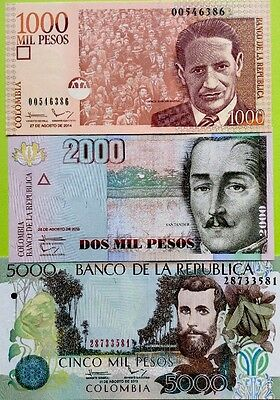 COLUMBIA 1000 2000 5000 Pesos GREAT SET Of NEW UNCIRCULATED BANKNOTES