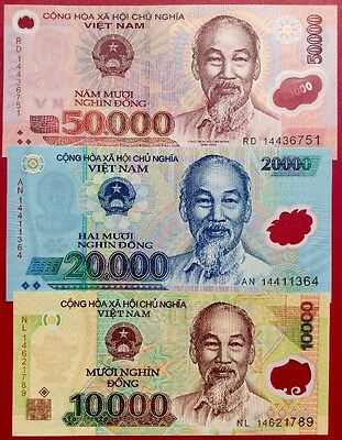 VIETNAM 10000 20000 50000 Dong GREAT COLOURFUL POLYMER UNCIRCULATED BANKNOTES