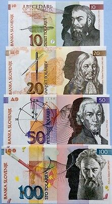 SLOVENIA 10 20 50 100 Tolarjev GREAT SET OF UNCIRCULATED BANKNOTES