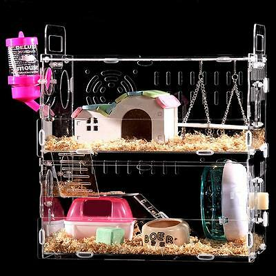 Hamster Cage Clear View 2 Layer Mouse Castle Rat House Villa Acrylic Enclosure